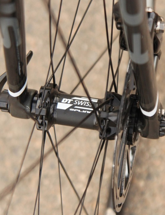 One of the more notable things on the Focus is the RAT thru-axle system, made here in partnership with DT Swiss