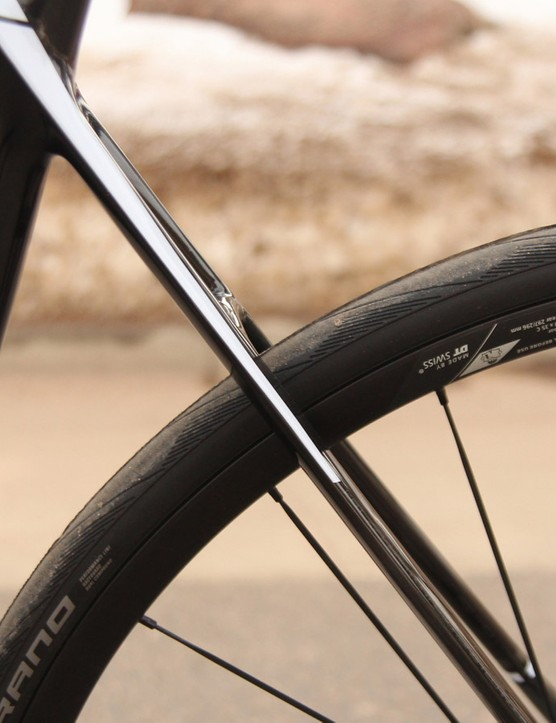 The Cayo Evo's thin seatstays are highlighted by the lack of a brake caliper
