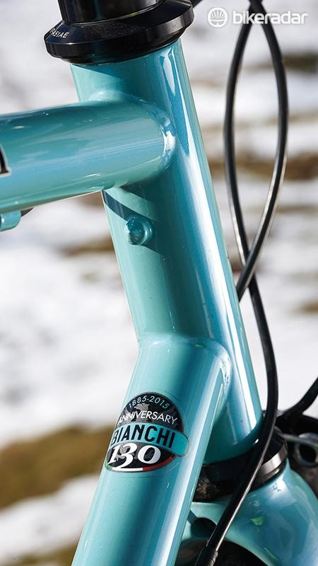 Celeste green and pump pegs under the top tube. Bravo!
