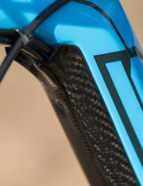 The carbon down tube protector houses the full-length gear cables and rear brake hose