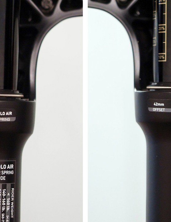 In addition to gettting updated graphics, the new RockShox forks get more detailed labeling that indicate the specific fork model, the travel, spring type, offset, hub spacing, and intended wheel size
