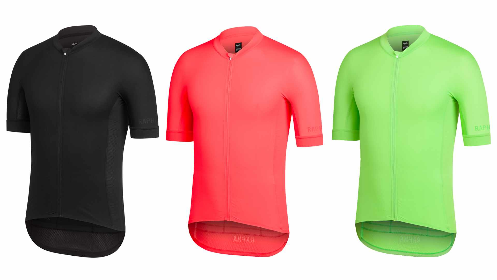 The new Rapha Pro Team Aero Jersey comes in black, fiery coral and green flash