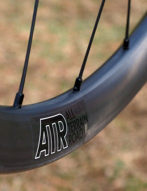 Aside from different spoke drilling, the rims on the Reynolds ATR gravel road wheelset is the same as what the company uses on its cross-country mountain bike wheels