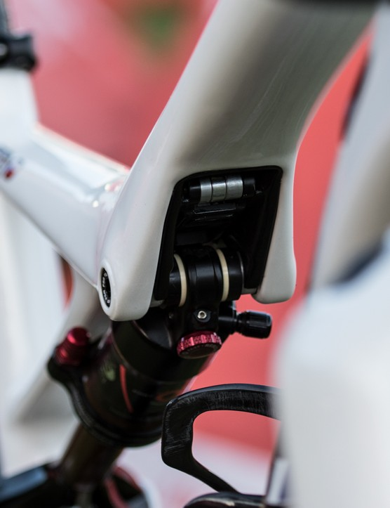 A SWAT multi-tool hides within the top-tube shock mount