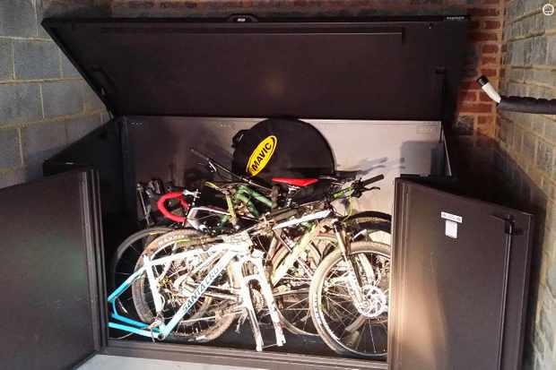 The Asgard Metal Bike shed is big enough for 29ers and can fit up to four bikes inside it