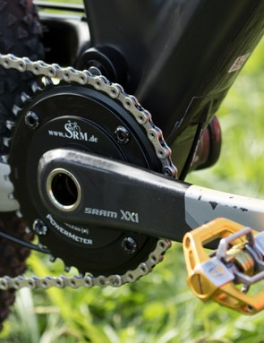 A SRAM XX1 SRM holds a single 34t chainring