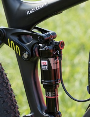 The RockShox Monarch XX rear shock uses a high volume air can to help overcome the progressive suspension