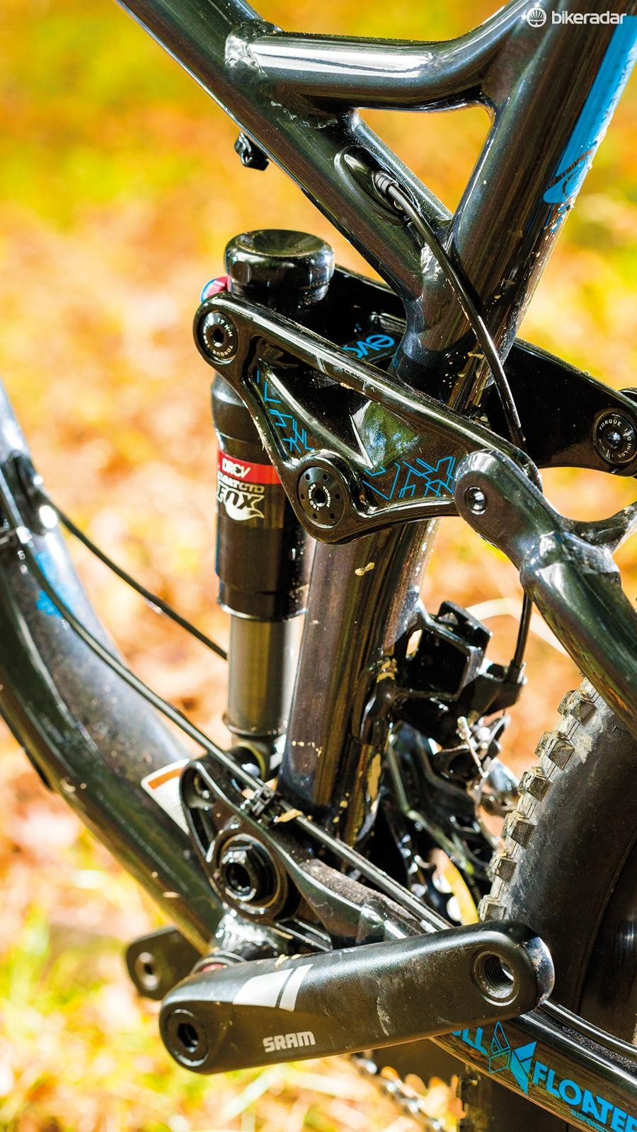A Fox rear shock gets DRCV technology for a deep and plush feel
