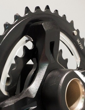 The FSA Grid crankset will be offered in both 1x and 2x chainring configurations, both with beefy aluminum spiders and hollow-forged aluminum arms