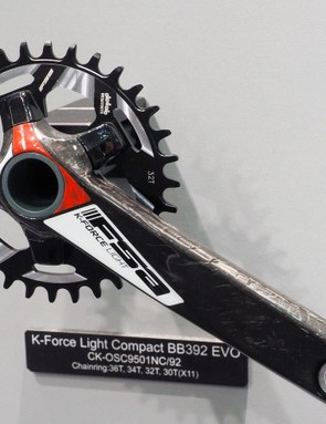FSA expands its ABS asymmetrical four-arm bolt circle pattern to the mountain bike side. Topping the range is the K-Force Light collection with hollow-forged carbon fiber arms
