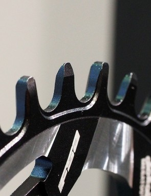 FSA's Megatooth 1x chainring uses extra-tall teeth with an alternating thick-thin profile to help keep the chain from derailing