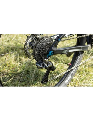 Shimano XTR Di2 11-speed out back for Platt and the Bulls team