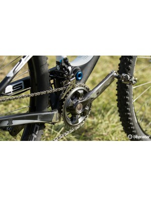Up front sits a 36/26T Shimano XTR crankset. Where rear shifting is electronic, front shifting remains mechanical