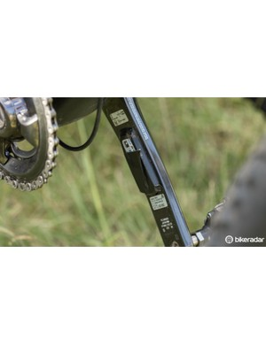 A Stages Cycling power meter is covered by duct-tape for further protection from the elements