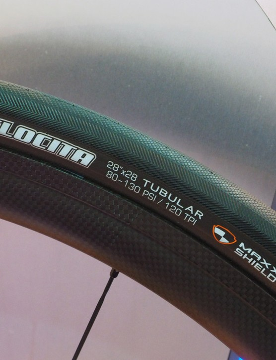 The Maxxis Velocita tubular targets Roubaix-style courses with a fat 28mm-wide casing and two layers of puncture protection