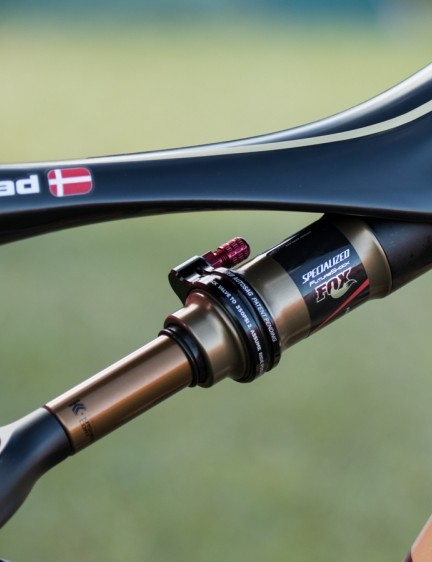 Generous standover clearance is a key feature of the Specialized S-Works Era. Also note the Specialized/FOX rear shock
