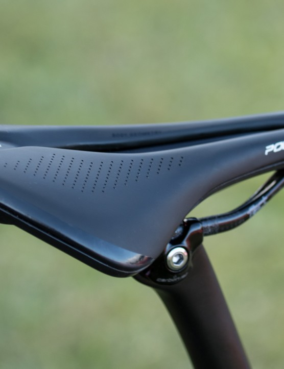 Langvad was using Specialized's new 'Power' saddle. This shortened saddle doesn't give room to slide foward on climbs