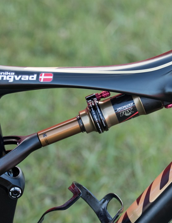 Another look at how Langvad was carrying her spares. A Specialized multi-tool is hidden within the frame in front of the rear shock