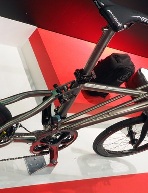 As odd as this machine looks at first, the heavily bolstered titanium frame sure seems stiff