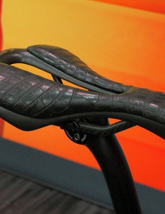Likewise, the saddle gets a custom crocodile leather cover