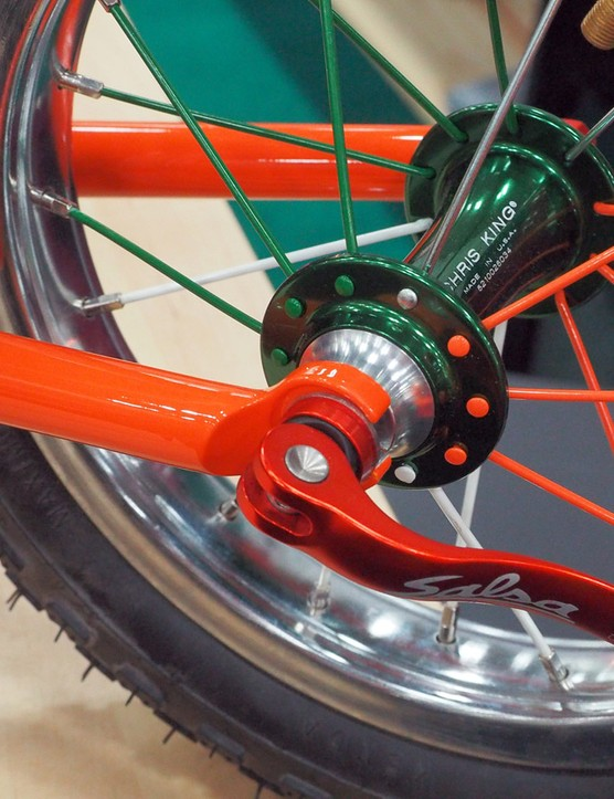 In a novel reversal, the fork is built with rear dropouts while the rear end is built with fork tips