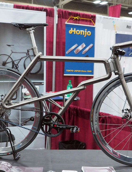 Japanese builder Futaq brought this stunning titanium creation, called Samurai, to NAHBS. From a distance, it looks to be built from a bunch of deftly curved tubes