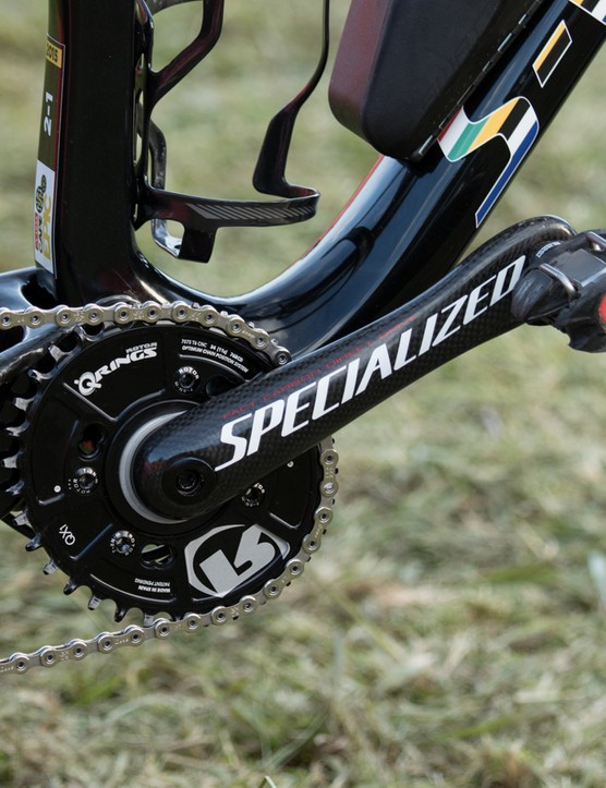Specialized S-Works Carbon cranks hold a Q-Ring QX1 34T asymmetric chainring