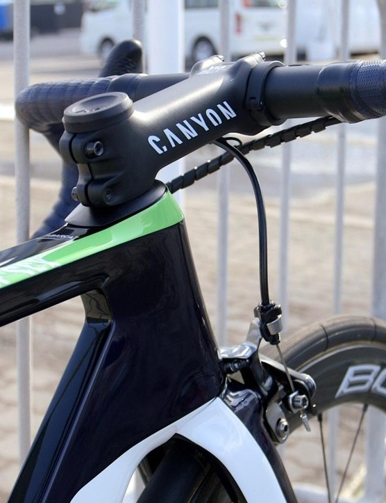 The cockpit might not be Canyon's one-piece bar and stem combo, but it still looks sleek