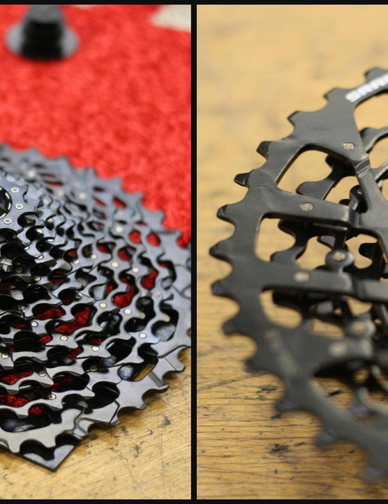 SRAM new XG-1150 cassette is an entirely pinned construction that uses pressed steel cogs