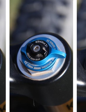 The new compression adjustment offers open, medium and firm levels of compression damping, but allows the rider to fine-tune the open position, rather than the trail position