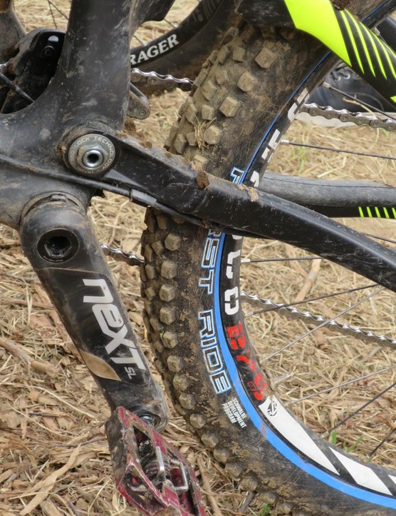 Sam Blenkinsop was riding proto-rubber on his Norco. Schwalbe's First Ride badged treads are development models given to pros - this tyre, with a profile somewhere between rounded and square looked ideal for the conditions