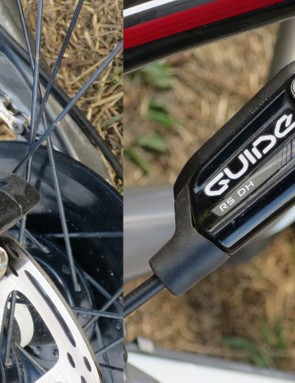 This looks like it might make it into a future SRAM brake line-up - the Guide RS DH. While the lever seems standard, the caliper looks to have a wider opening above the pads, presumably for increased airflow and cooling