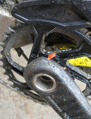 Canyon Factory Racing's Joe Barnes had a SRAM Blackbox chainring on his Spectral, which is soon to be released. The usual maxim of lighter and stiffer applies, with the direct mount nature of this ring going towards this