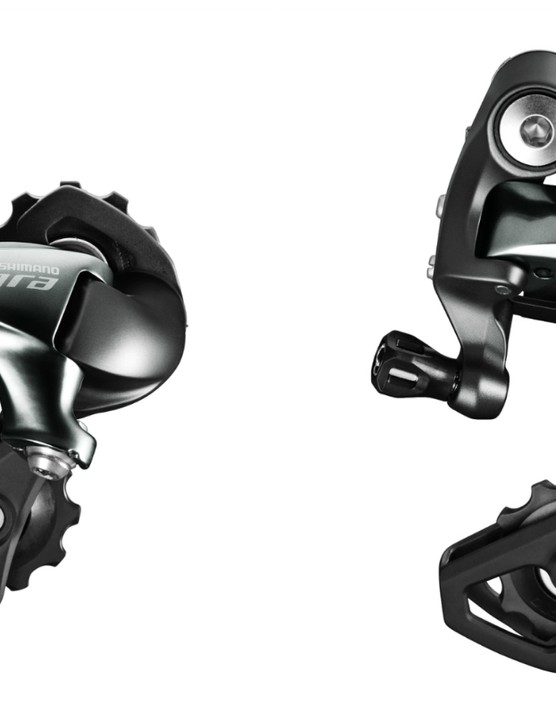 The rear derailleurs will be offered in two cage lengths, the longer of which is said to work with a 34t cassette