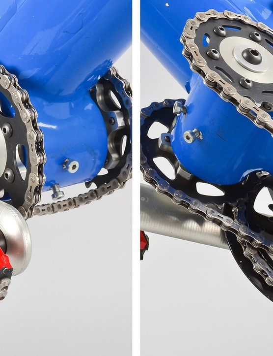 Changing gear ratios was no small task. Former team mechanic Doug Dalton estimates that it took about 20 minutes to do so and involved a lot of bolts, multiple pre-sized chains, and even a tandem eccentric bottom bracket