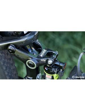 The Merida Ninety Nine's carbon rocker arm rotates around the seat tube