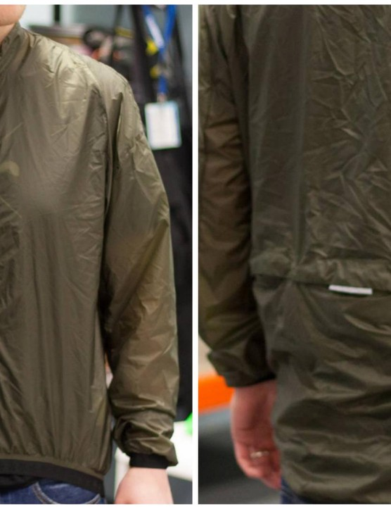Huez Starman Wind Jacket – the rear has a large opening to allow jersey pocket access