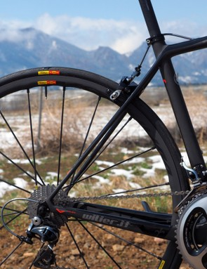 The slim seatstays suggest a creamy ride but the bike is actually quite unyielding on bumps