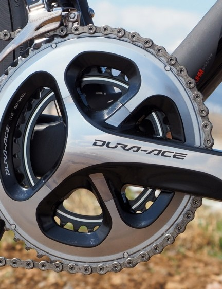 Our test bike came with a compact Shimano Dura-Ace crank ideally suited for climbing big mountains