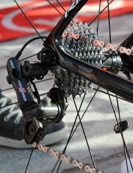 German champion Andre Greipel of Lotto-Soudal had a Campagnolo 11-27t