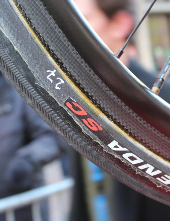 Cofidis had 27mm tubulars on spare bikes