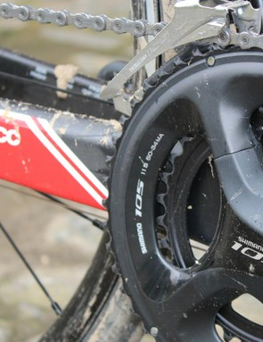 Shimano's compact 50/34 105 crank offers much-needed low gearing for average riders like me when tackling slippery 20-percent grades