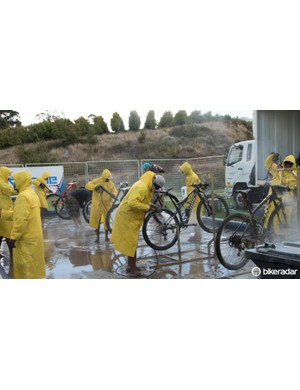 Every day the bikes are handed to the bike washing team. These guys wash bikes for over five hours straight