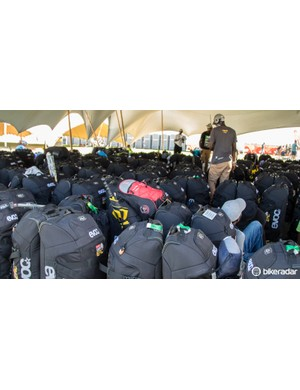 Event sponsor EVOC provides bags for all riders. Riders are required to use these bags which are taken from stage to stage for them