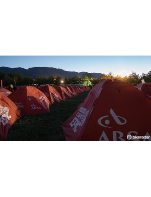 Tent village. Some riders stay in nearby accomodation, others in RVs - but the majority get their own two-person tent which is set up and pulled down for them