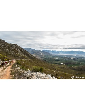 Riders conquer the Groenlandberg on the first stage - a 9km climb with an average gradient of seven percent up sandy and rocky trails