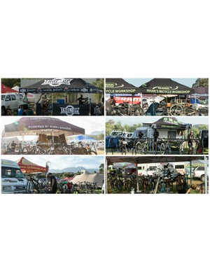 Many riders call on the services of businesses that pay to be at the event. These are just a few of the private mechanics and bike stores that were servicing (read: rebuilding) bikes for their customers
