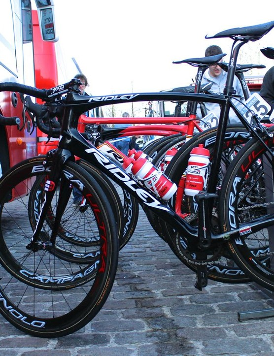 The new Ridley Fenix endurance bike stands out from Ridley's race Helium SL and aero Noah SL bikes used by Lotto-Soudal