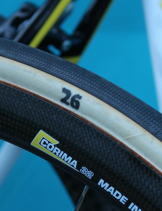 With 25mm tubulars being the standard at Scheldeprijs, this was the widest casing we saw, on a Specialized-sponsored Astana bike