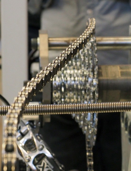 Bigger chainrings and cassette cogs run more efficiently than smaller ones but extreme cross-chaining can cancel out those efficiency gains. This is actually the setup that SRAM uses to test the retention performance of its X-Sync narrow-wide chainrings and depicts a much more extreme lateral chain angle than what you would see in a real-world drivetrain but it's a handy visual nonetheless